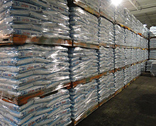 A view of product skids in the Toronto Salt warehouse.